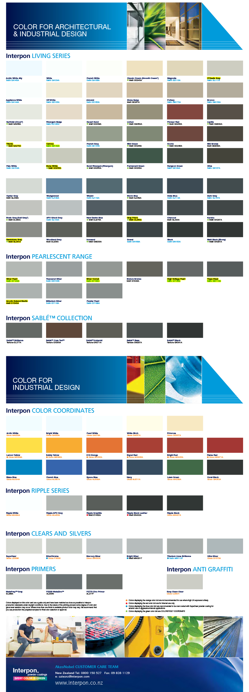 Colour Swatches Full Chart